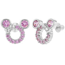 925 Sterling Silver Pink CZ Mouse Bow Screw Back Earrings for Kids Girls