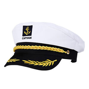 Adult Navy Cap Unisex Yacht Boat Ship Sailor Captain Marine Hat Costume Party