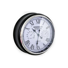 Kensington Station Style Black Multi Feature Home Office Time Display Wall Clock