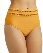 Time and Tru Women's Ladder Trim High Waist Swimsuit Bottom Gold Topaz Medium