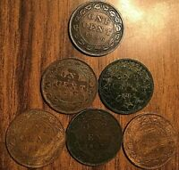 6 CANADA LARGE CENTS LOT OF 6 COINS