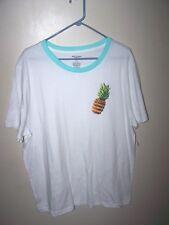 Arizona mens t shirt size XL White w/ Aqua neck PINEAPPLE Shirt Cotton