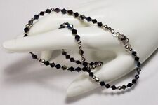 Classic Beads Necklace 925 Sterling Silver & Dark AB 4 mm Swarovski Beads