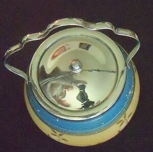 Antique  Biscuit  Jar Flowers 5in tall chrome rin & lid 1925 era