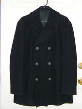 Vietnam Era Enlisted Navy Black Wool Pea Overcoat Eagle Anchor Buttons 40R 1965