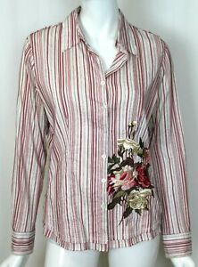 Etcetera Women's Embroidered Long Sleeve Striped Blouse Shirt - Size 8