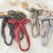 Hot Sale Stripe Print Rabbit Ears Hairband Stretch Bow Knotted Hair Decor Summer