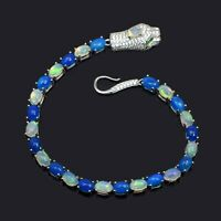 White Blue Natural Ethiopian Opal Gemstone 925 Sterling Silver Cobra Bracelet