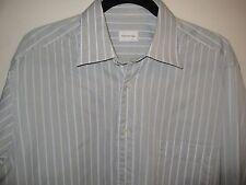 ERMENEGILDO Zegna DRESS SHIRT 16/ 41 Striped GRAY WHITE Comfort FIT Cotton EUC