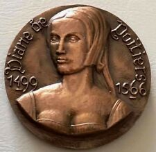 FRENCH / CHENONCEAUX BRONZE MEDAL FRENCH CASTLES DIANE DE POITIERS / 59mm / N142