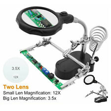 Helping Third Hand Soldering Clips Magnifier Acrylic Len Clamps Stand Holder
