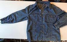 Vtg Lee Blue Denim Western Shirt / Jacket XLR 70s Brass Snap XL Long Made In USA