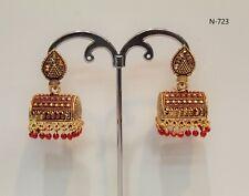 Indian Oxidized gold Colour Earring White Bead Jumka Jumki Bollywood Earring