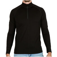 MERIWOOL Merino Wool Men's Half Zip Mock Turtleneck Pullover Sweater
