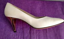 VTG Bruno Magli White Shoes Gold Heels Bologna Made in Italy 8 AA