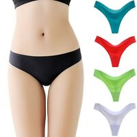 3Pcs Sexy Women Ice Silk Briefs G-string Panties Solid Seamless Thongs Underwear
