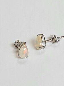 Genuine Opal Stud Earrings In 14k White Gold
