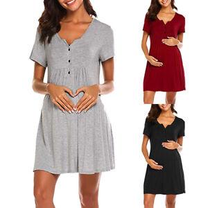 Womens Maternity Pregnant Minidress Nursing Nightgown Breastfeeding Dresses UK