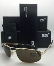New MONTBLANC Sunglasses MB 650S 32J 60-17 Gold & Black Aviator w/ Roviex Brown