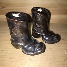 2 Vintage Ceramic Cowboy Boot Western Candlesticks Incense Holders Hand Painted