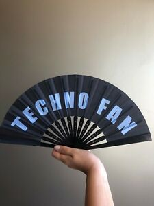 Techno Hand Folding Fan Party Festival Dancer Rave Portable NEW Blue & Black