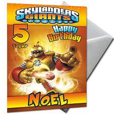 Skylanders Gigantes-Personalizado Cumpleaños Tarjeta de gran formato A5 + Sobres