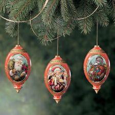 Millenial Santa Porcelian Ornaments Set of 3 New Bradford   Free Ship USA