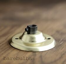 Brass plated ceiling rose with cord grip - vintage industrial retro -