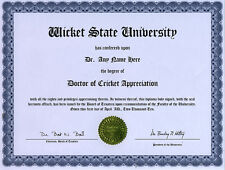 Doctor Cricket Appreciation Novelty Diploma Gag Gift