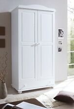 Armoire commode dressing ADAM 2 portes Pin teinté blanc