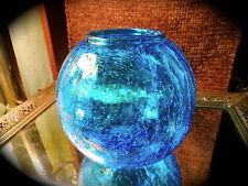 Vintage Blue Ribbed Mid Century Modern Crackle Glass Rose Bowl Vase