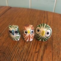Vtg Tonala Mexican Pottery owl figurines Set 3 hand painted folk art green white