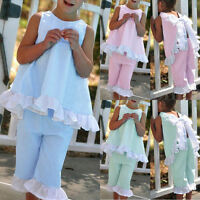 Summer 2PCS Kids Baby Girls Bow Vest Tops Shirt+Shorts Pants Clothes Outfits Set