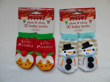 2 Pairs - Christmas 3D Baby Socks - Unisex Age 0-6 Months - Snowman / Pudding