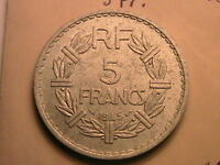 1943-1950 France 9 Coin Lot 5 Francs Top Grade WWII Era French Five Franc Coins