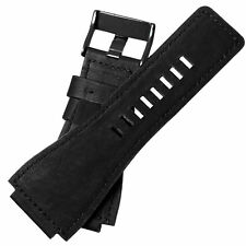 New 24mm Black Leather Watch Strap band Compatible With Bell&Ross Black Buckle