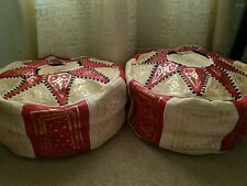 Moroccan Leather Pouff red/natural  set of 2