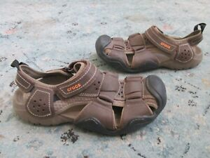Crocs Swiftwater Leather Fisherman 204562 Mens Size 11 Strap Sandals Outdoor