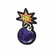 Purple Sequin Bomb (Sew On) Embroidery Applique Patch Sew Iron Badge