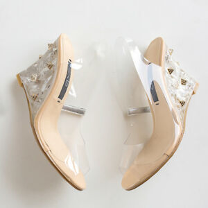 Women's Wedge Heel Peep Toe Shoes Clear Soft Plastic Slingback Sandals US Sz 4~8