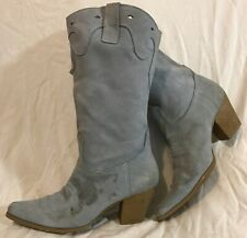 Frenzy Blue Mid Calf Suede Boots Size 4 (551Q)