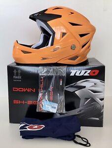 Tuzo Downhill SH-204 Full Face Flip Up Front Helmet - Fluor Orange - XS (53/54)