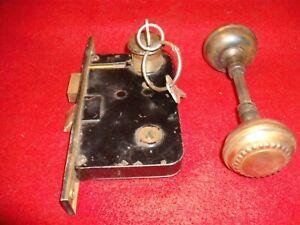 Vintage Russwin Metal Doorknob with axle,  Lock mechanism with Deadbolt and keys