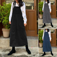 Ladies Womens Party Corduroy Pinafore Dungaree Buttoned Maxi Skirt Dress UK 8-26