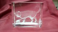 Bevelled Edge Glass 3D Laser Block Paperweight : Cat and Wool