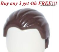 ☀️NEW Lego Minifig Hair Male Boy DARK BROWN Combed & Slicked Back City