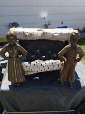Vintage Gas Fireplace Insert W/ Brass Endirons