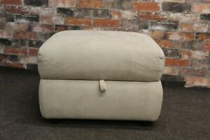 FURNITUR V VERY PALE GREY FAUX SUEDE FABRIC STORAGE FOOTSTOOL (636)