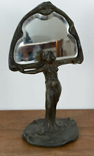 Unbekannt (20th), Jugendstil Tischspiegel Flora, Bronze