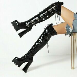 Women Block High Heels Platform Over The Knee Thigh High Boots Knight Shoes Punk